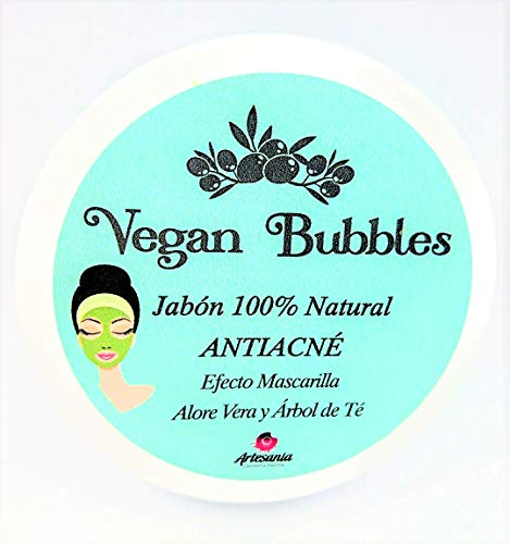 Vegan Bubbles Jabón natural artesanal para piel grasa anti acne efecto mascarilla con árbol de té y aloe vera alta cosmética natural, orgánico con glicerina natural y arcilla certificados Ecocert