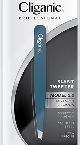Professional Eyebrow Tweezers Precision Slant Tip 2.0 BLUE (Improved Model) | Hair Tweezer for Men & Women, Stainless Steel | Best for Plucking Chin Facial Hair | Cliganic 90 Days Warranty
