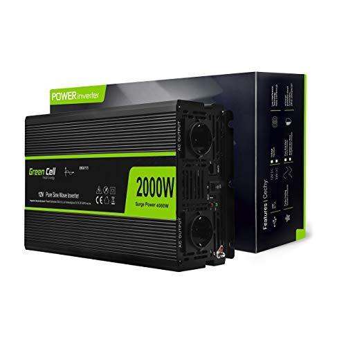 Green Cell® 2000W/4000W Reiner Sinus Spannungswandler Wechselrichter 12V auf 230V Konverter Pure Sine Power Inverter Umwandler für Auto, Direktanschluss an Autobatterie inkl.