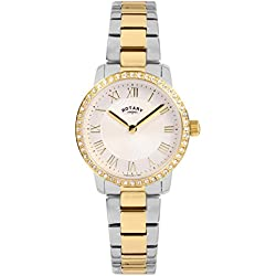 Rotary Women's Quartz Watch with White Dial Analogue Display and Two Tone Stainless Steel Plated Bracelet LB00340/01