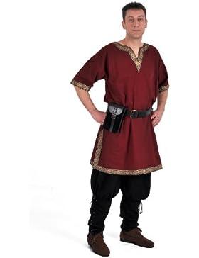 Tunika mit kurzem Arm, rot, Größen M, L, XL, XXL Mittelalter