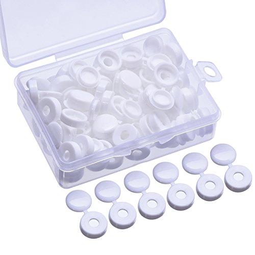 60 Piezas Tapa de Tornillo Cubierta de Tornillo de Plastico para Tornillos de Numero 6 y 8 con Caja de Almacenaje, Blanco