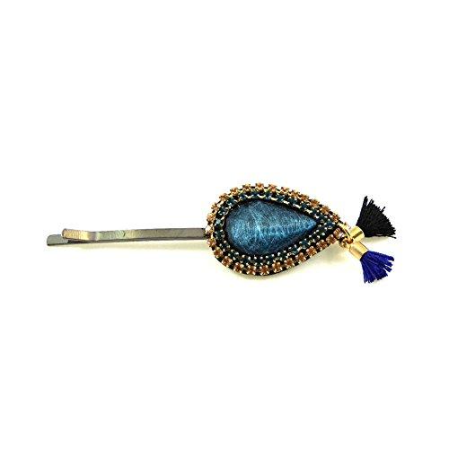 rougecaramel - Accessoires cheveux - Mini pince cheveux fantaisie strass et pompom - bleu