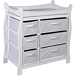 Cómoda para la habitación cambiador Color Blanco con elementos de tela