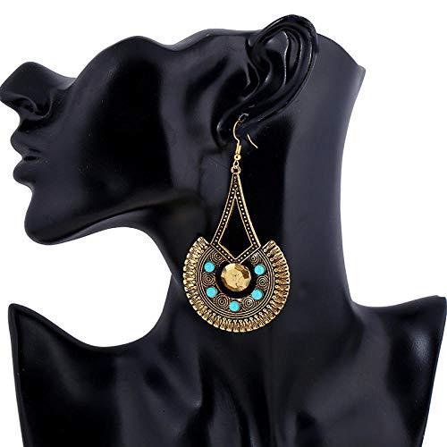 Orecchini a bottone donna,personalità orecchini esagerato stile etnico oro vintage scultura geometrica perle di riso, pendente gancio per l'orecchio per quotidiana delle donne gioielli accessori