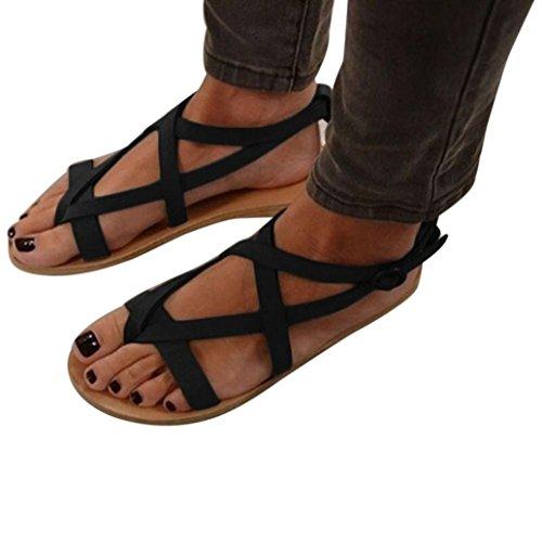 Preisvergleich Produktbild Sandalen Damen Sommer Schuhe Bohemia Sandalen Btruely Flache Schuhe Retro Sandalen Outdoor Schuhe Flache Strandschuhe Mode Schuhe Roman Hausschuhe (42,  Schwarz)