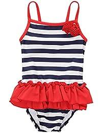 CharmLeaks Baby Mädchen One Piece Badeanzug Streifen Und Rose Bademode für Kleinkinder