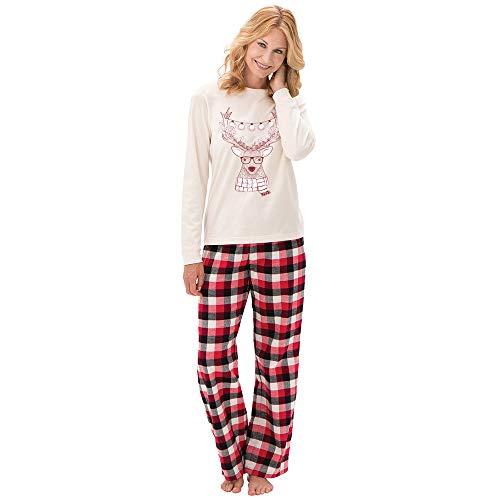 Amphia Weihnachten Pyjamas Sets Familie Passenden Nachtwäsche Nachtwäsche Homewear Outfit 2 Stück Plaid für Vater Mutter und Kinder Passende Familienkleidung Outfits