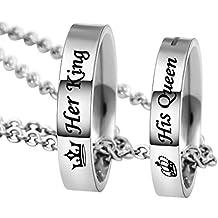 MJARTORIA Damen Halskette Silber Farbe Sperren Schlüssel Partnerketten mit Gravur Ich bin dein Ring Kreis 2 Stück