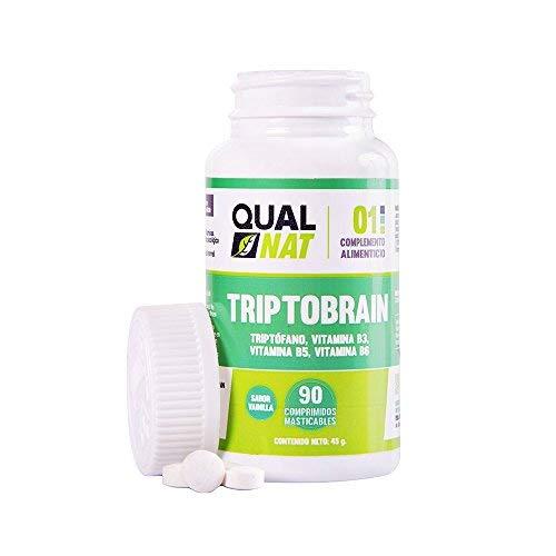 Triptófano con vitamina B6, vitamina B3 y vitamina B5 para ayudar al estado de ánimo y conseguir un sueño reparador – 90 comprimidos masticables con sabor a vainilla para un fácil consumo