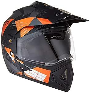 Vega Off Road D/V Moto X Full Face Helmet (Dull Black and Orange, Medium)