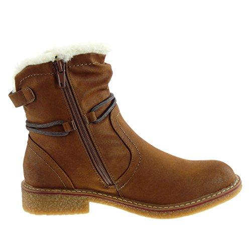 Angkorly Damen Schuhe Stiefeletten - Schneestiefel - Reitstiefel Kavalier - Pelz - Spitze - Schleife Blockabsatz 2.5 cm Camel
