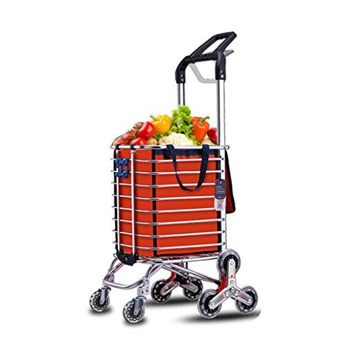 Einkaufstrolleys Einkaufswagen, Senior-Einkaufen-Einkaufshandtrailer_Adjustable-Griff-faltendes Auto, Portable Einkaufswagen des Household_Outdoor, Lagerung (Color : Orange, Size : 105*44*30cm)