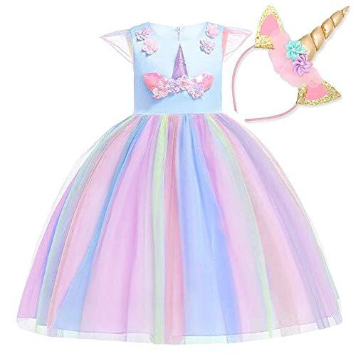 NNDOLL Mädchen Einhorn Rüschen Blumen Party Cosplay Kleid Brautkleid Prinzessin blau 100 2-3 Jahre