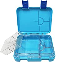 LunchGO Kids School Bento-Style Lunch Box | Leak-Proof 4 to 6-Compartments | Microwave and Dishwasher Safe | BPA-Free and Food-Safe Materials (Sky Blue)