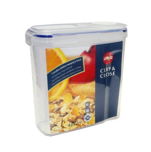 Emsa 507850 Cerealienbox mit Deckel, Volumen 4 Liter, Maße, Transparent/Blau, Clip & Close