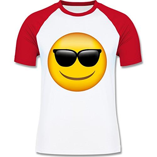 Shirtracer Comic Shirts - Emoji Sonnenbrille - Herren Baseball Shirt Weiß/Rot