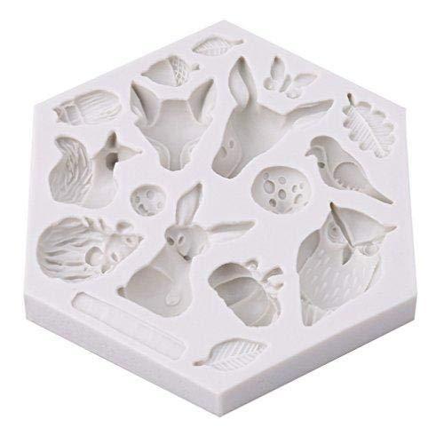 Jeffyo Mini Tiere Silikonform Schokolade Süßigkeiten Form Kuchen Dekorieren Werkzeuge DIY Backen Fondant Formen Silikon Kuchenform (Insekt, Kaninchen, Eule, Schmetterling, Käfer, Kürbis, Pilz)