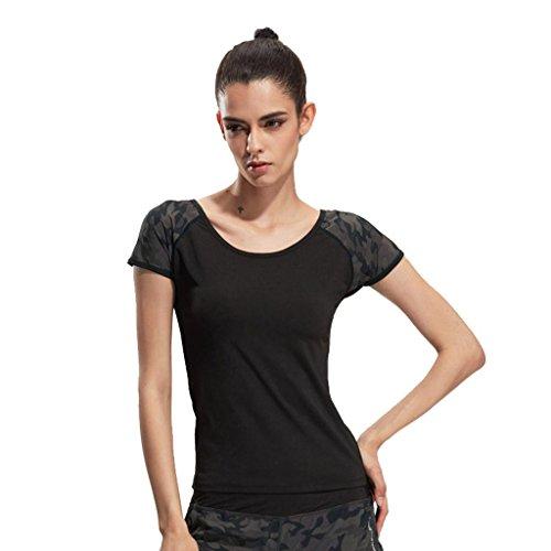 Wgwioo Frauen Sport Fitness Kurze Ärmel Laufen T-Shirt Sommer Outdoor Yoga Top Gym Workout Leistung Black L -
