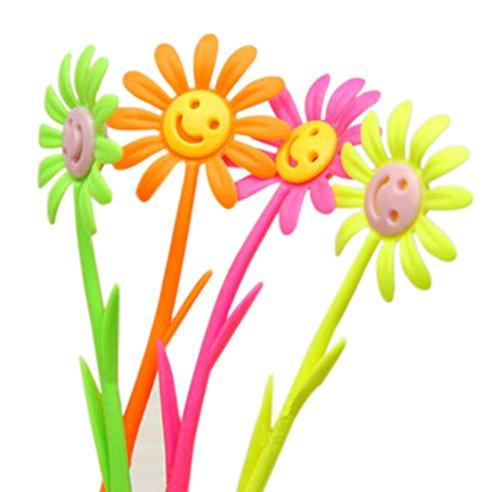 Set von 12 Smiley-Gesichts-Blumen-Gel-Feder mit Fragrance (Farbe Random)