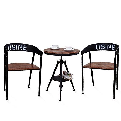 DUO Escabel Silla de bar Sillas de forja de hierro forjado Mesa redonda y combinación de sillas taburete de sofá ( Color : C+C+E )