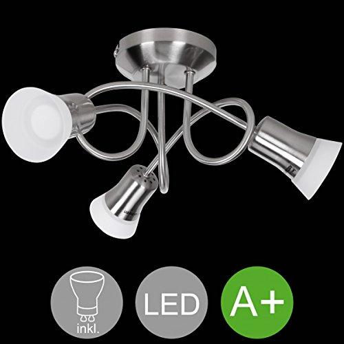 WOHNLING LED-Spot 3-flammig CLARA Deckenstrahler Lampe Dimmbar A+ Warmweiß 12 Watt | Wohnzimmerlampe Strahler drehbar 3000K | Deckenleuchte Silber modern 3x360 Lumen IP20 | Design Deckenlampe schwenkbar (Moderne 3-lampe)