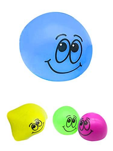 JustRean Toys Happy Splash-Ball | Smiley Splatter-Ball mit Wasser gefüllt |  Splatt-Ball Klatsch-Ball Squeeze-Toy (Blau)