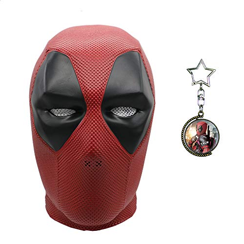 (Yacn Deadpool-Maske und Deadpool Doppelseitige rotierende Zeit Edelstein Halskette Anhänger-Set, Kostüm Kostüm, Film DP Cosplay Kostüm Replik Maske für Halloween-Party)