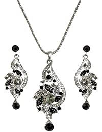 DollsofIndia Black And White Stone Studded Metal Pendant Set - Chain Length - 17 Inches, Pendant - 2.5 Inches,...