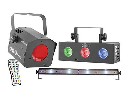 Chauvet Jam Pack Silver (Lichteffekt Komplettset mit Moonflower Effekt, Washlight und 1 UV/Strobe LED Bar, inklusive Wireless-IRC-6 Fernbedienung)
