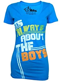 House of Mental Ladies Always About The Boys Slogan Blue T Shirt