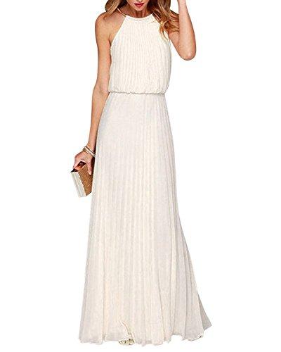 Yigoo Kleider Abendkleider Lang Cocktailkleid Damen Ballkleid Elegant Chiffon Neckholder Schulterfrei für Festlich Hochzeit Weiß L Neckholder Abendkleider