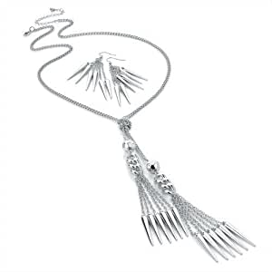 Ladies Womens Girls Costume Fashion Jewellery Silver colour tassel spike chain Necklace and Earrings Set