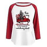 Maniche Lunghe Natale Donna Giacca Top Lettera Camicie T-Shirt Moda Cappotto Maglione,Giuntura Pullover di Felpa con Stampa di Natale Shirts Qinsling