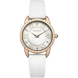 Morgan Ladies M1185WG Rose Gold Case White Leather Strap Watch