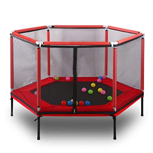 SJWR 60 Zoll Runde Kinder Mini Trampolin Gehäuse Net Pad Rebounder Outdoor Übung Hause Spielzeug Sprungbett Max Last 150 KG,Red