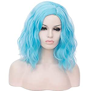 Majome Short Curly Wig Harajuku Style Halloween Cosplay Colored Wig Heat Resistant