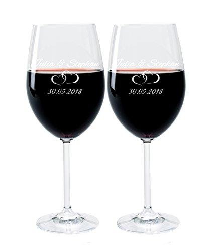 2 Leonardo Weingläser mit Gravur des Namens und Motiv Paar Wein-Glas graviert Hochzeit Geschenkidee Verlobung