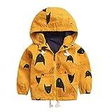 Yazidan Jacke Kinder Reißverschluss Mit Kapuze Baby Oberbekleidung Mantel Jungen Mädchen Kinder Kleidung Karikatur Niedlich Bandage Beiläufig Mode Winter Dicker Warm Sweatshirt Jacke(Gelb,110)