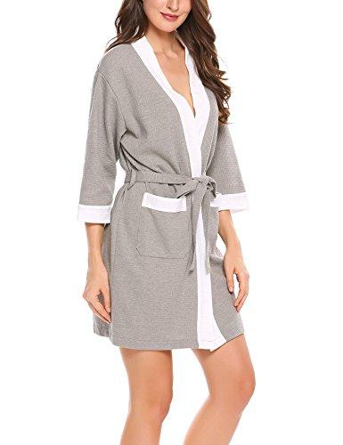 HOTOUCH Damen Bademantel Morgenmantel Waffel Saunamantel Kimono Schlafanzug Nachthemd Mit V Kragen Grau