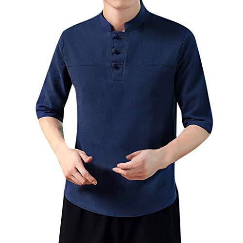 HHyyq Men Fashion Plain Sport Sleeveless Blouse Shirt Men's T-Shirt Slim Fit V-Neck Tops T-Shirt Summer Short Sleeved T Shirt Casual Streetwear Loose Tank Top Shirt Blouse Top(Marine,L)