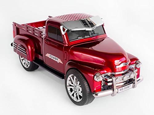JeVx Altavoz Camioneta Pickup con Bluetooth USB para Pendrive Furgoneta Lector de Tarjetas de Memoria Micro SD TF Radio FM Portatil Reproductor Musica Mp3 Faros Led (Rojo)