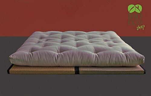 Bioecoshop futon in cotone puro 100% con 1 lastra di lattice trapuntato e annodato a mano mis esterne 120 x 200 cm altezza 16 cm 1 piazza e œ made in italy