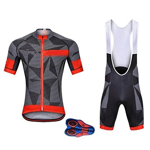 GSKTY Herren Radtrikot Set Fahrrad Trikot Kurzarm Langarm + Radhose mit Sitzpolster Radsport-Anzüge