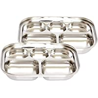 SU company Stainless Steel Divided Tray Divided Plate Diet Plate Diet Food Control Tray 5 Compartment Food Tray 2Pack