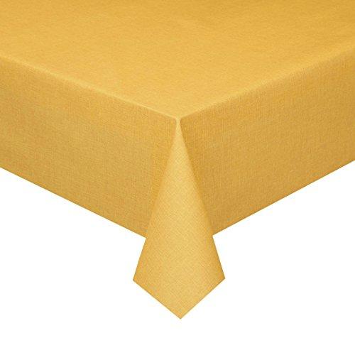 ix Acryl Soft Meterware Tischdecke 100% Baumwolle Breite & Länge wählbar Gelb Eckig 110 x 180 cm Leinenstruktur Lotus Effekt abwaschbare Tischdecke ()