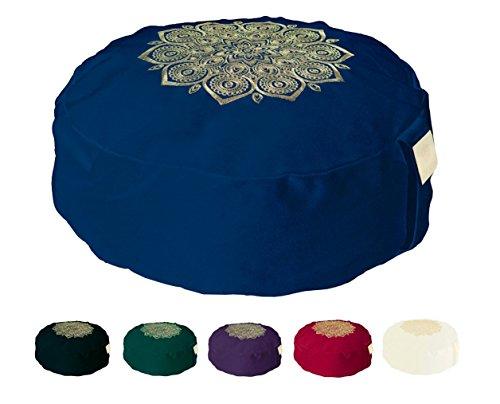 Om Vita - Cuscino Yoga o meditazione Zafu con imbottitura di grano saraceno al 100% e decorazione a mano mandala con coperchio lavabile