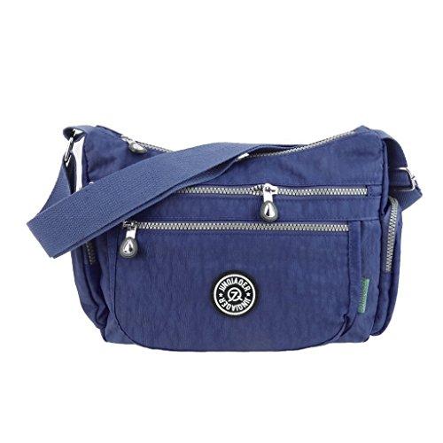 Imported Womens Waterproof Crossbody Bag Shoulder Bag Messenger Zipper Handbag Blue