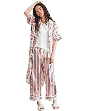 Strisce di modo sezione lunga tre parti insiemi Short maniche signore pigiami abiti casalinghi ( Colore : Multicolore...
