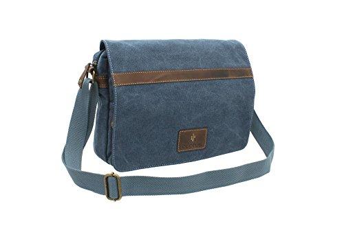 CACTUS Messenger-Tasche / Laptop-Tasche Leinen und geöltes Leder im Used-Look CM814_81 Denim -
